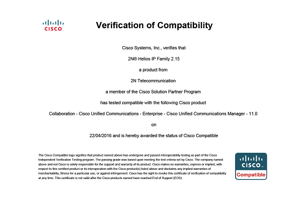 Renewal of Cisco Certification for 2N Intercoms - 2N